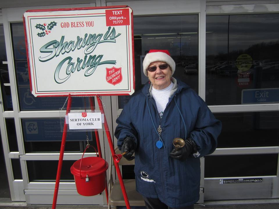 Miki Platt ringing the Salvation Army bell today.