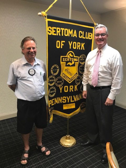 York County Commissioner Chris Reilly (left) shared updates on York County Government to club members on July 6, 2017.  Also pictured is club President Ken Smith.