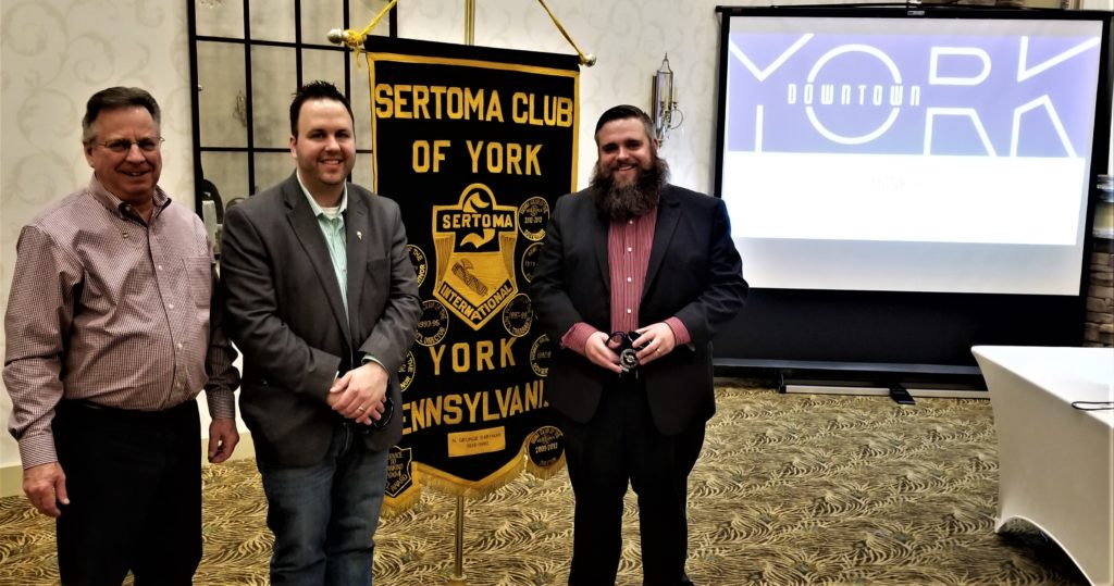 Pictured (L-R): Ken Smith, York Sertoma President; Andrew Staub, Downtown Inc Marketing & Communications Director; Silas Chamberlain, Downtown Inc CEO.