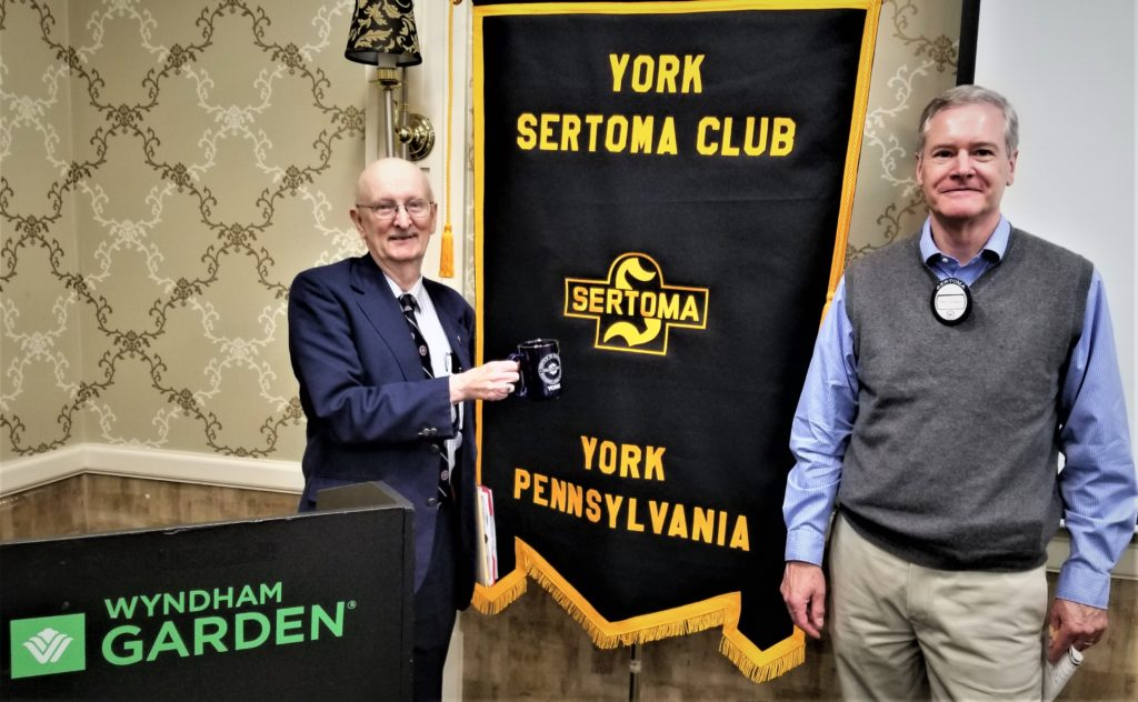 Dr. Alan Peterson, Penn Medicine (L) presented a program on Climate and Health to the York Sertoma Club on March 5. Dr Peterson accepted a York Sertoma Mug from club president Jim Gross.
