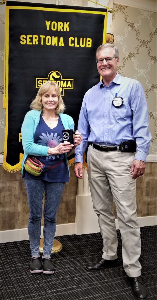 Mary Smallwood (L) and President Jim Gross from the 10/17 York Sertoma Club meeting. Mary is the owner of Keystone Dog Training and trains dogs to be sociable family members.