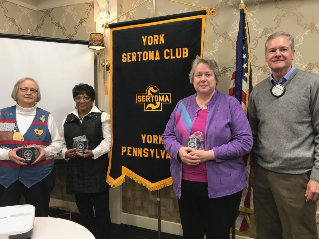 Club President Jim Gross (R) with members of Quilts For Kids at a recent member meeting.  These volunteers make quilts for children experiencing illness and trauma and delivers them to facilities such as Hershey Children's Hospital, York Hospital, and Olivia's House.